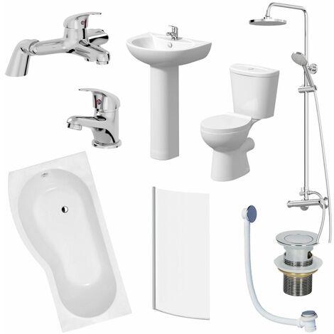 Bathroom Suite 1700mm P Shaped LH Bath Toilet Basin Pedestal Taps Shower Waste