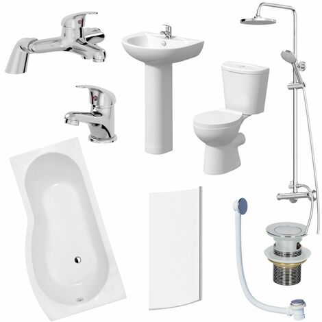 Bathroom Suite 1700mm P Shaped RH Bath Toilet Basin Pedestal Taps Shower Waste