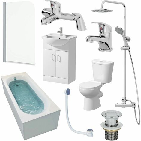 Bathroom Suite 1700mm Single Ended Bath Screen Toilet Basin Vanity Taps Shower