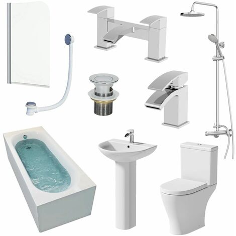 Bathroom Suite 1700mm Single Ended Bath Shower Toilet Pedestal Basin Taps Screen