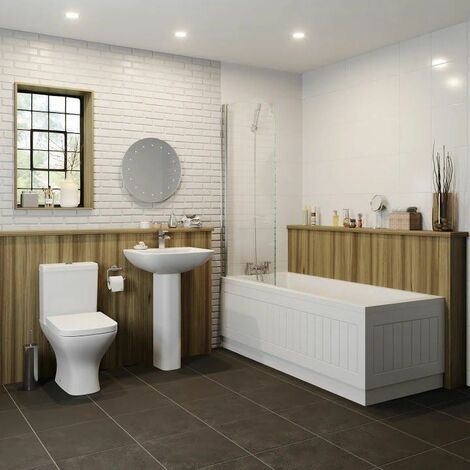 Bathroom Suite 1700mm x 750mm Single Ended Square Bath Toilet WC Basin Pedestal