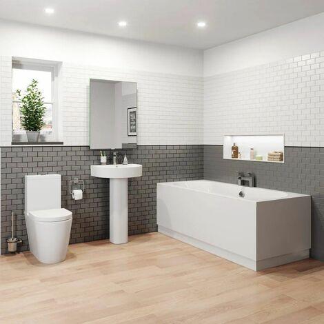 Bathroom Suite 1800 Double Ended Curved Bath Close Coupled Toilet Basin Pedestal