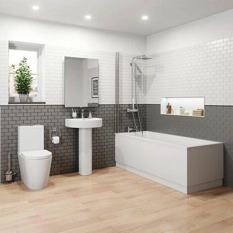 Bathroom Suite 1800 Single Ended Square Bath Close Coupled Toilet Basin Pedestal
