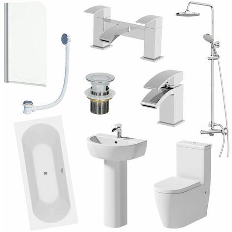 Bathroom Suite 1800mm Double Ended Bath Shower Toilet Pedestal Basin Taps Screen