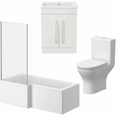 Bathroom Suite 600mm Vanity Unit Basin L Shape Bath With Curved Toilet White LH