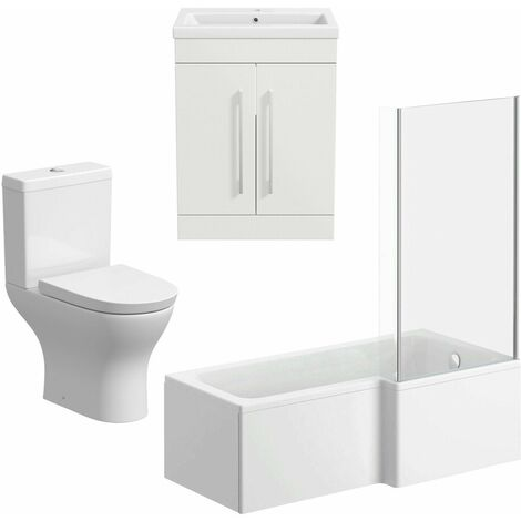 Bathroom Suite 600mm Vanity Unit Basin L Shape Bath With Curved Toilet White RH