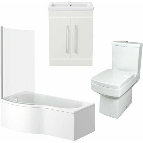 Bathroom Suite 600mm Vanity Unit Basin P Shape Bath With Square Toilet White LH