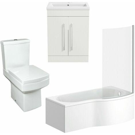 Bathroom Suite 600mm Vanity Unit Basin P Shape Bath With Square Toilet White RH