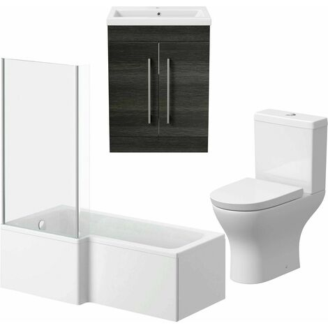 Bathroom Suite 600mm Vanity Unit L Shape Bath Curved Toilet Charcoal Grey LH