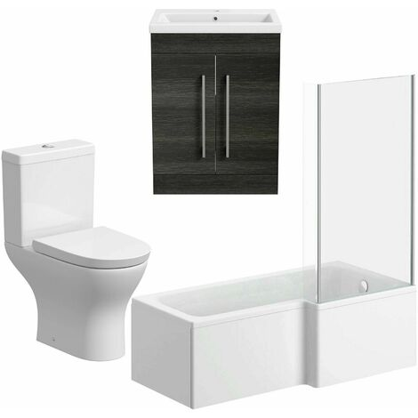 Bathroom Suite 600mm Vanity Unit L Shape Bath Curved Toilet Charcoal Grey RH