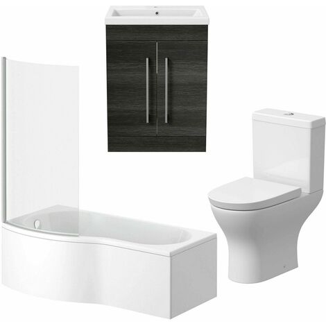Bathroom Suite 600mm Vanity Unit P Shape Bath Curved Pan Toilet Charcoal Grey LH