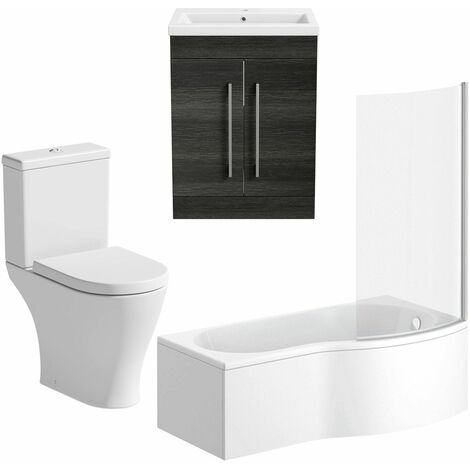 Bathroom Suite 600mm Vanity Unit P Shape Bath Curved Pan Toilet Charcoal Grey RH