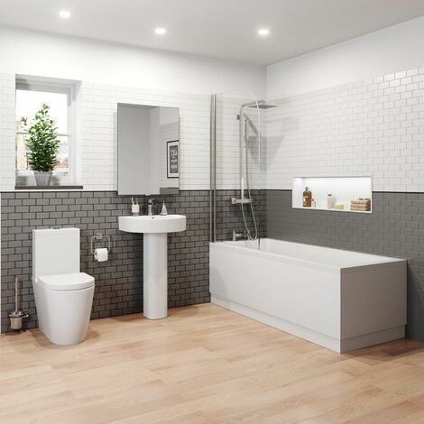 Bathroom Suite Basin Close Coupled Toilet Single Ended Bath 1700
