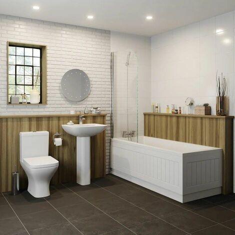 Bathroom Suite Bath 1800mm Straight Single Ended Toilet WC Basin Pedestal White