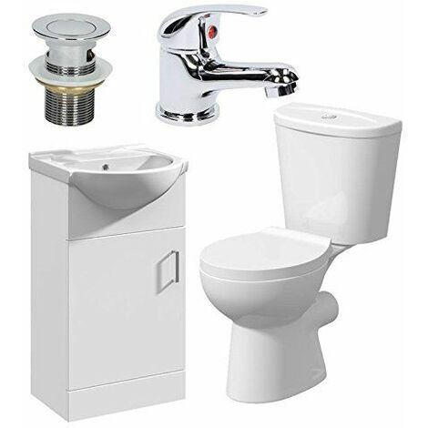Bathroom Suite Cloakroom Vanity Unit Close Coupled Toilet Basin