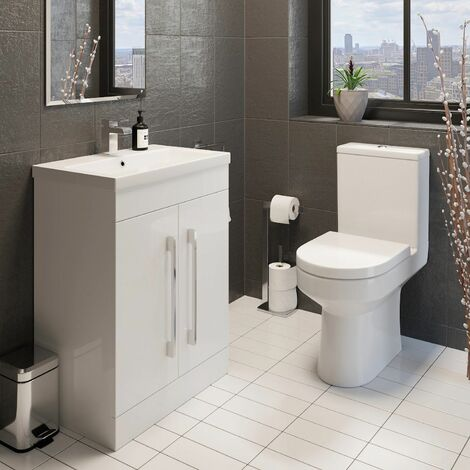 Bathroom Suite Close Coupled Toilet 600mm White Vanity Unit Sink Basin Cloakroom