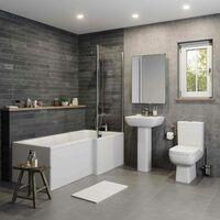 Bathroom Suite Close Coupled Toilet Basin L Shaped RH Bath Screen