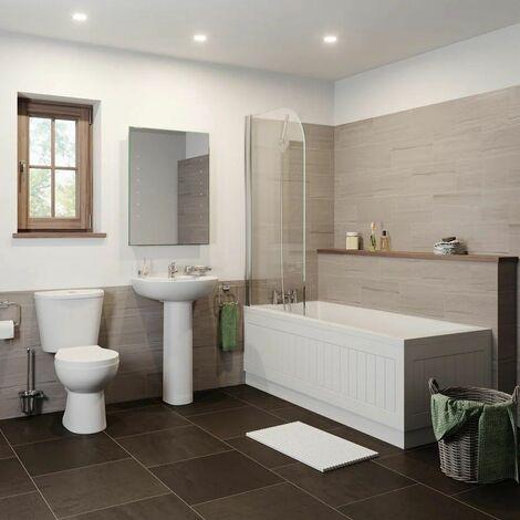 Bathroom Suite Close Coupled Toilet Basin Pedestal Single Ended Bath White 1800