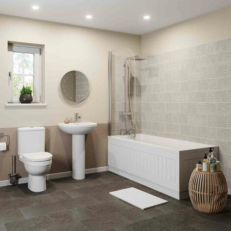 Bathroom Suite Close Coupled Toilet Basin Single Ended Bath 1700