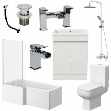 Bathroom Suite Complete LH 1700mm Bath Single Ended Basin Sink Taps Toilet WC