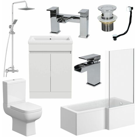 Bathroom Suite Complete RH 1700mm Bath Single Ended Basin Sink Taps Toilet WC