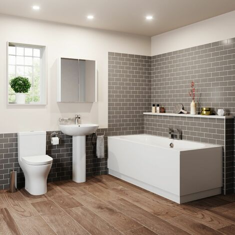 Bathroom Suite Double Ended Bath Close Coupled Toilet Basin 1700