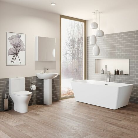Bathroom Suite Freestanding Bath Close Coupled Toilet Basin