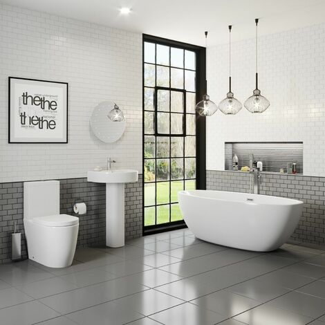 Bathroom Suite Freestanding Curved Bath Close Coupled Toilet Sink
