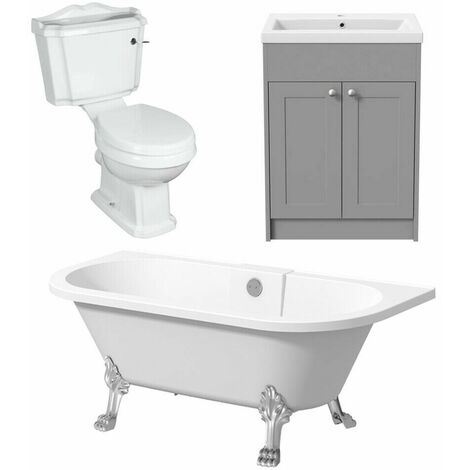 Bathroom Suite Grey Vanity Unit Basin Freestanding Bath and Traditional Toilet
