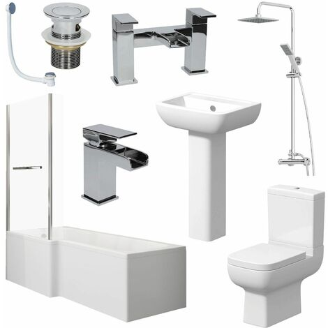 Bathroom Suite L Shape Bath LH Screen & Rail Toilet Basin Pedestal Shower Taps