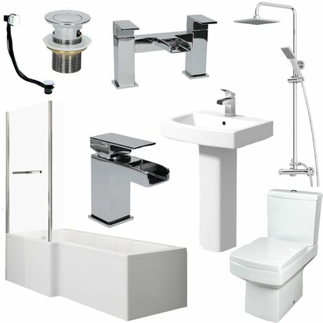 Bathroom Suite L Shape LH Bath Screen & Rail Basin Pedestal WC Shower Tap Set