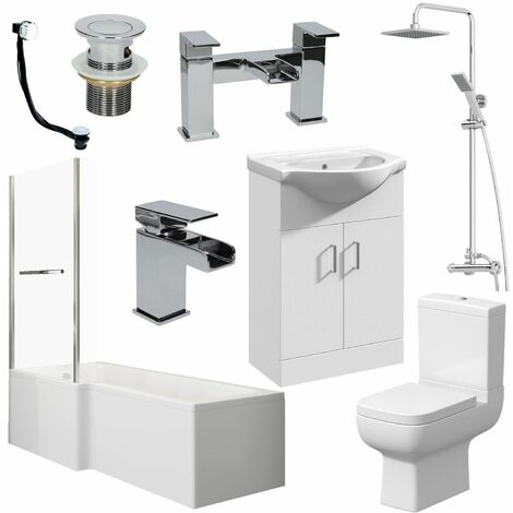 Bathroom Suite L Shaped Bath LH Screen Toilet Basin Vanity Unit Shower Taps Set