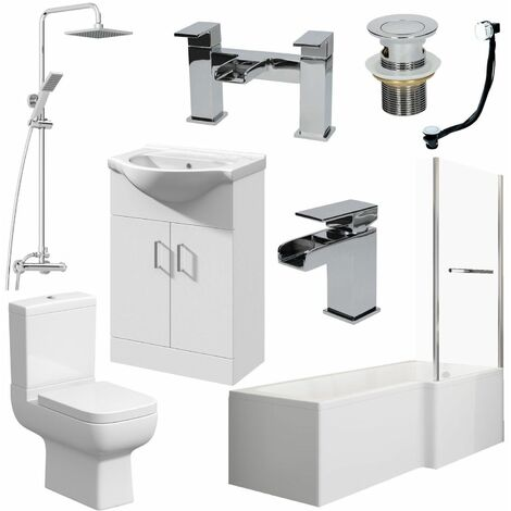 Bathroom Suite L Shaped Bath RH Screen Toilet Basin Vanity Unit Shower Taps Set
