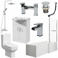 Bathroom Suite L Shaped Bath RH Screen Toilet Basin Vanity Unit Shower Taps Set