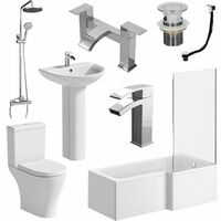 Bathroom Suite L Shaped Bath Screen Toilet Basin Shower Taps Set