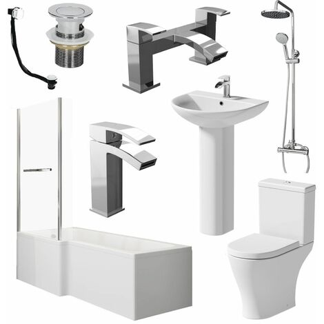 Bathroom Suite L Shaped LH Bath Screen & Rail Panel Toilet Basin Shower Taps Set