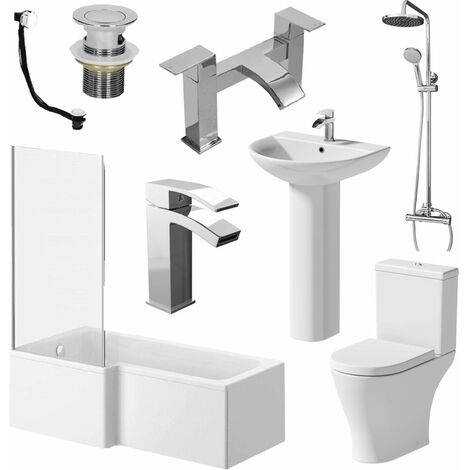 Bathroom Suite L Shaped LH Bath Toilet Basin Sink Shower Taps Set