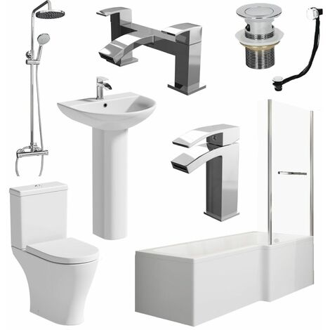 Bathroom Suite L Shaped RH Bath Screen & Rail Panel Toilet Basin Shower Taps Set