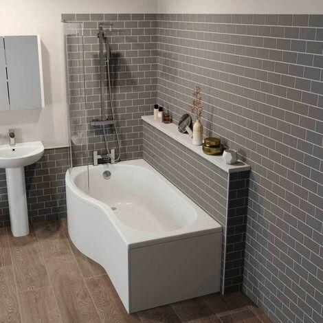 Bathroom Suite P Shaped LH Shower Bath Screen Bath Panel 1700