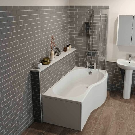 Bathroom Suite P Shaped RH Shower Bath Glass Screen Bath Panel