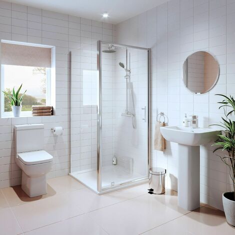 "main image of ""Bathroom Suite Pivot Shower Enclosure Basin Sink Pedestal Toilet WC 760mm White"""