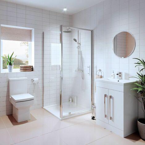 "main image of ""Bathroom Suite Pivot Shower Enclosure Basin Sink Vanity Unit Toilet WC 760mm"""