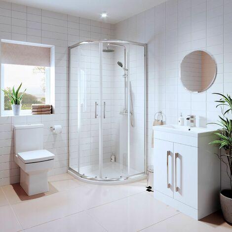 "main image of ""Bathroom Suite Quadrant Shower Enclosure Basin Sink Vanity Unit Toilet WC 800mm"""