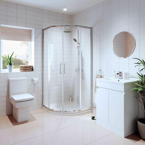"main image of ""Bathroom Suite Quadrant Shower Enclosure Basin Sink Vanity Unit Toilet WC 900mm"""