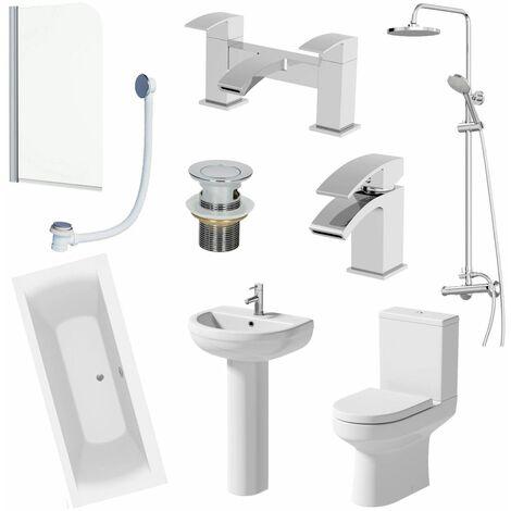 Bathroom Suite Shower 1700mm Double Ended Bath Screen Pedestal Basin Taps Toilet