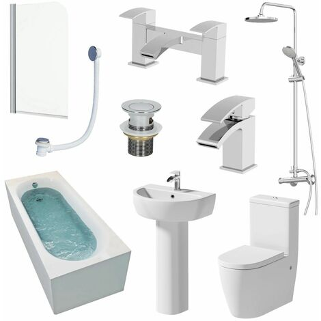 Bathroom Suite Single Ended 1700mm Bath Shower Toilet Taps Basin Pedestal Screen