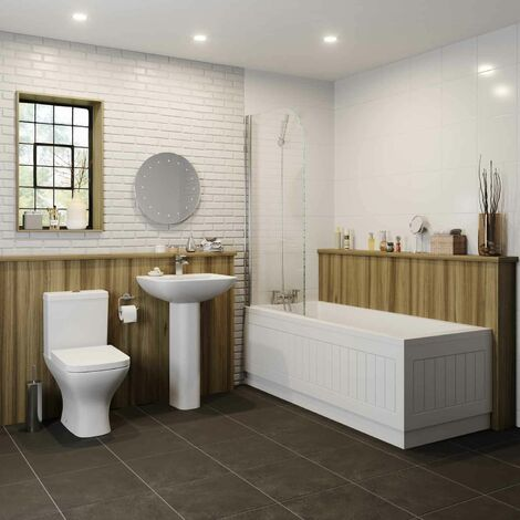 Bathroom Suite Single Ended Bath Close Coupled Toilet Basin 1700