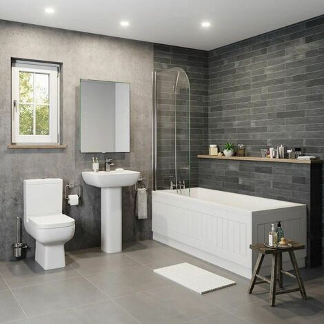 Bathroom Suite Square 1600mm Bath Single Ended Basin Sink Close Coupled Toilet