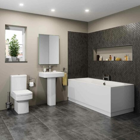 Bathroom Suite Toilet Basin Full Pedestal Double Ended 1700 Bath