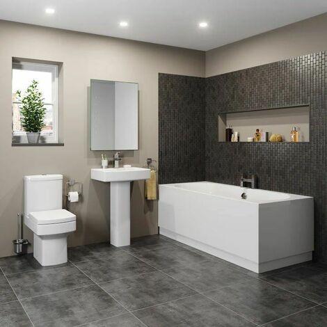 Bathroom Suite Toilet Basin Sink Full Pedestal 1700 mm Double Ended Bath Modern